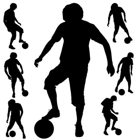 白の背景にベクトル シルエット スポーツ男。  イラスト・ベクター素材