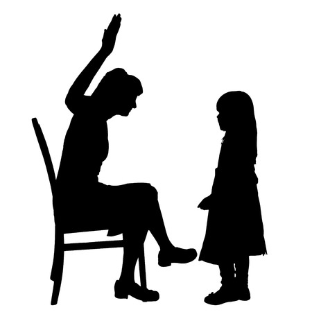 ire: Vector silhouette of family on a white background.