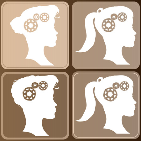 fond brun: Quatre visage silhouette femme sur fond brun.