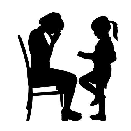 brat: Vector silhouette of family on a white background.