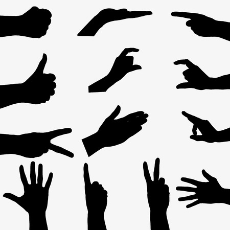 hand up: Few black silhouette hand on gray background.