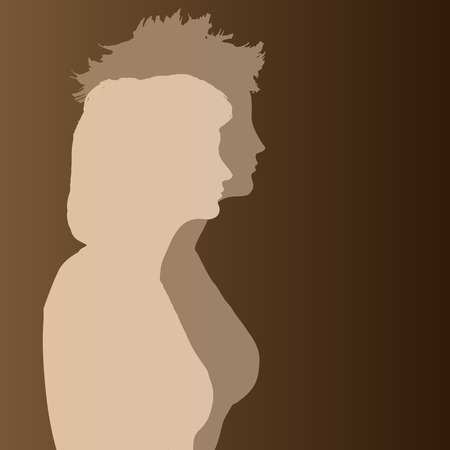 beige stof: Double beige silhouette woman on brown background.