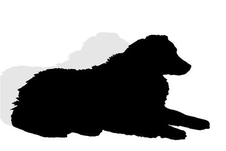 Vector Silhouette eines Hundes auf weißem Hintergrund.
