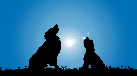 companions: Vector silhouette of a dog in nature.