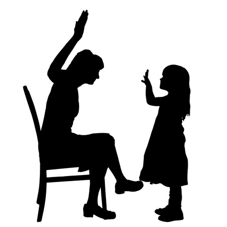 irritate: Vector silhouette of family on a white background.