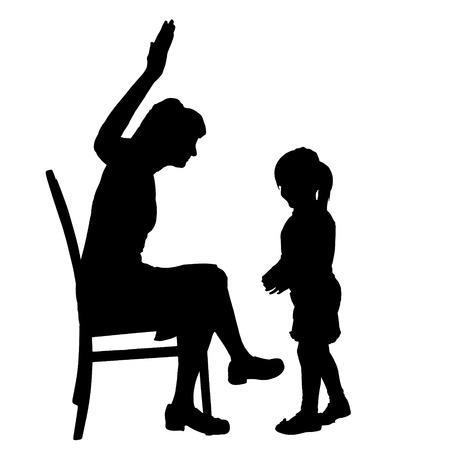 anger kid: Vector silhouette di famiglia su uno sfondo bianco.