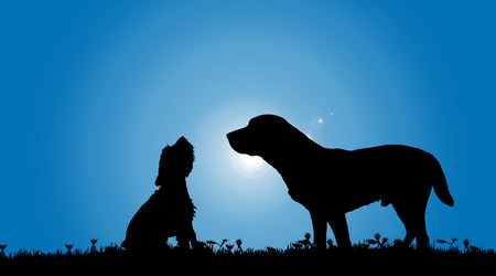 happy couple at home: Vector silhouette of a dog in nature.