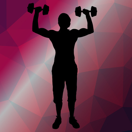 strengthen: Vector silhouette sport man on low poly background. Illustration