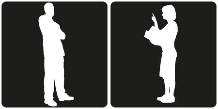 silhouette feminine: Blanc personnes silhouette d'affaires sur fond noir.
