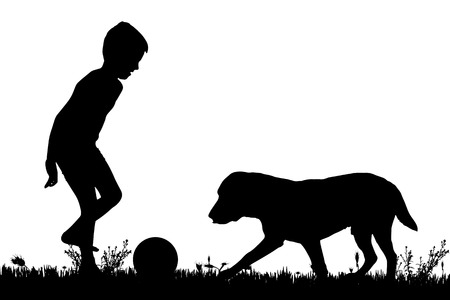 soccer grass: Vector silhouette of a boy with a dog on a white background.