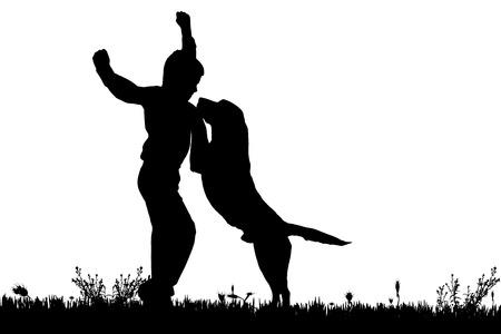 persona saltando: Vector silueta de un niño con un perro en un fondo blanco. Vectores