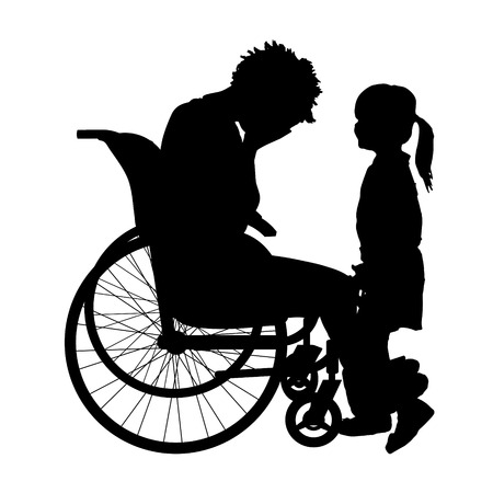 unhappy family: Vector silhouette of a woman in a wheelchair.