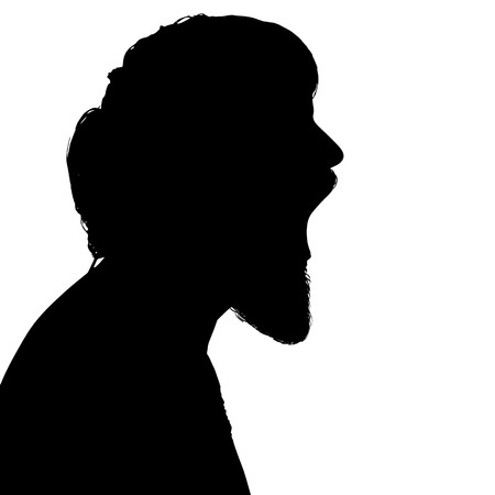 shouting: Black silhouette hipster man on white background.