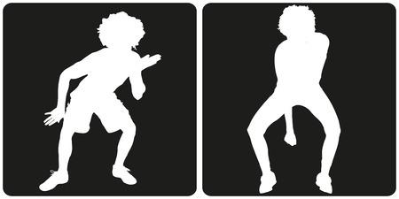 black people: White silhouette dance people on black background. Illustration