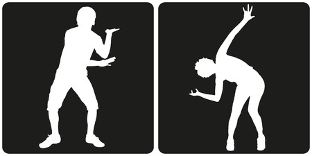 DAnce background: White silhouette dance people on black background. Illustration