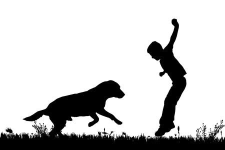 siluetas de animales: Vector silueta de un ni�o con un perro en un fondo blanco. Vectores