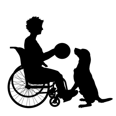 assistance: Vector silhouette of a woman in a wheelchair.