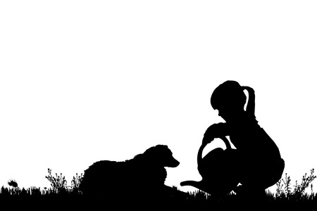 nature silhouette: Vector silhouette of a girl with a dog on a white background. Illustration
