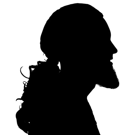 boredom: Black silhouette hipster man on white background.