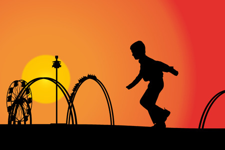 amusement park rides: Vector silhouette amusement park at sunset with people