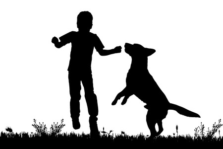 Vector silhouette of a boy with a dog on a white background.