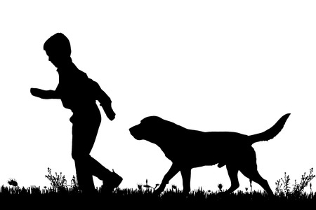 dog run: Vector silhouette of a boy with a dog on a white background.