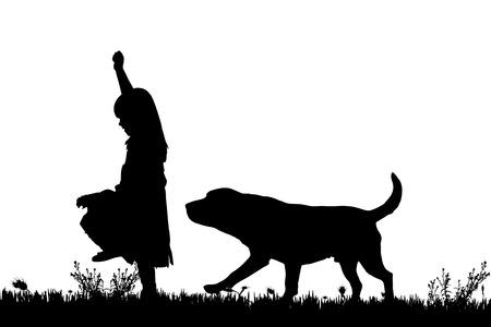 mignonne petite fille: Vector silhouette d'une jeune fille avec un chien sur un fond blanc. Illustration