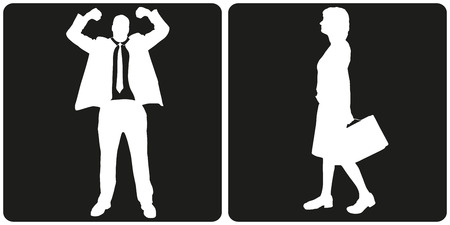 male: White silhouette business people on black background.