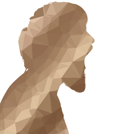 boredom: Low poly silhouette man on white background.