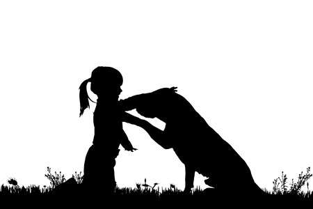 labrador puppy: Vector silhouette of a girl with a dog on a white background. Illustration
