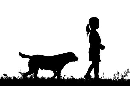 白い背景の上の犬と女の子のベクトル シルエット。