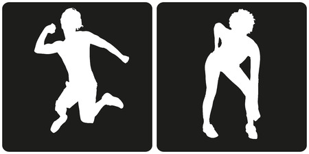 dancing: White silhouette dance people on black background. Illustration