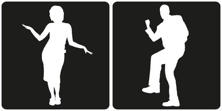 male figure: White silhouette business people on black background.