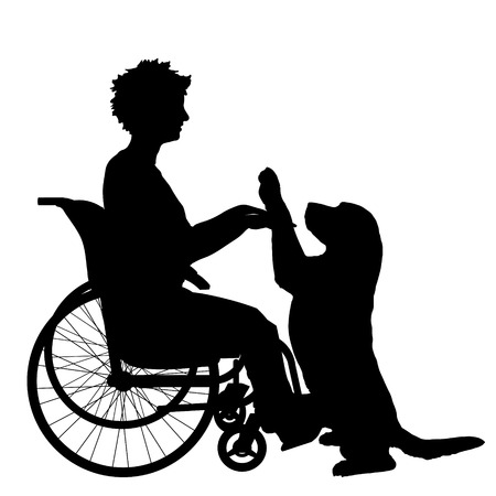 and assistance: Vector silhouette of a woman in a wheelchair.