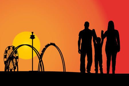 family park: Vector silhouette amusement park at sunset with people