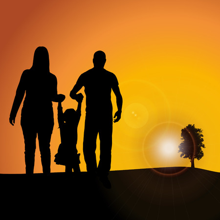 celebrate life: Vector silhouette nature at sunset with people