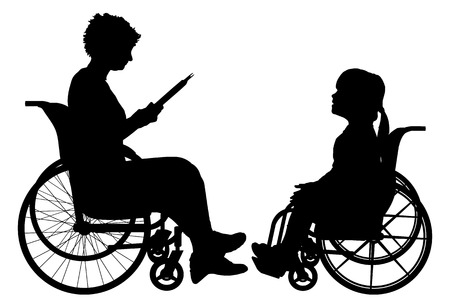 silueta niño: Vector silueta de una mujer en una silla de ruedas.