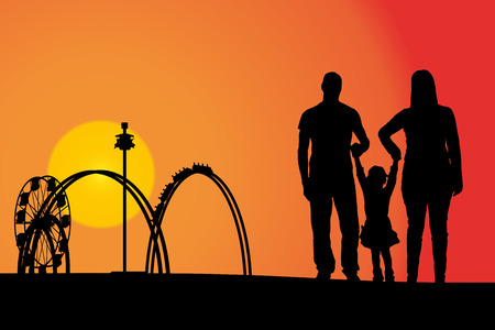 roller coaster: Vector silhouette amusement park at sunset with people