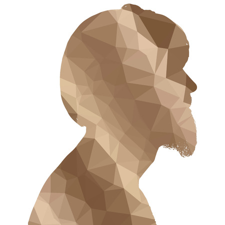 anger abstract: Low poly silhouette man on white background.