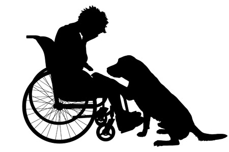 dog wheelchair: Vector silhouette of a woman in a wheelchair.