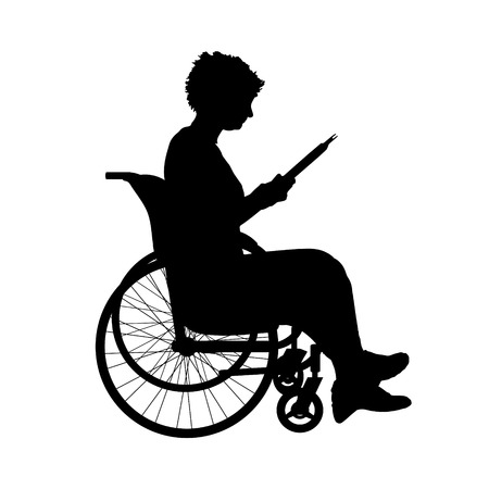 woman reading book: Vector silhouette of a woman in a wheelchair.