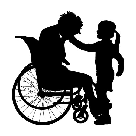 illness: Vector silhouette of a woman in a wheelchair.