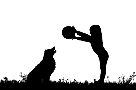 pretty young girl: Vector silhouette of a girl with a dog on a white background. Illustration