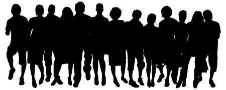 흰색 배경에 사람들의 그룹의 벡터 실루엣.