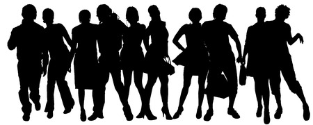 collaborator: Vector silhouette of a group of people on a white background.