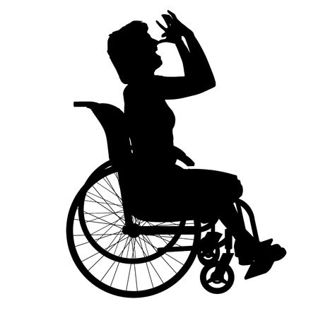 hopelessness: Vector silhouette of a woman in a wheelchair.