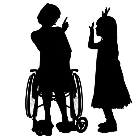 wheelchair: Vector silhouette of a woman in a wheelchair.
