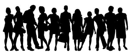 junge nackte frau: Vector Silhouette einer Gruppe von Menschen auf einem wei�en Hintergrund.