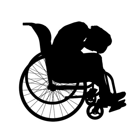 hopeless: Vector silhouette of a woman in a wheelchair.