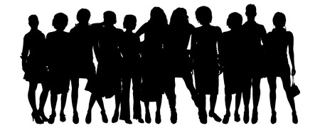 businesswoman skirt: Vector silhouette of a group of people on a white background.